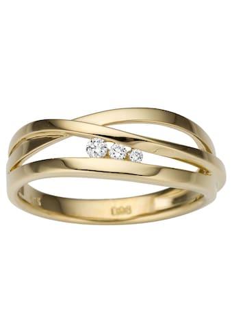 Firetti Goldring »Elegant, Glanz, teilw. mehrreihig, massiv«, mit Brillanten kaufen