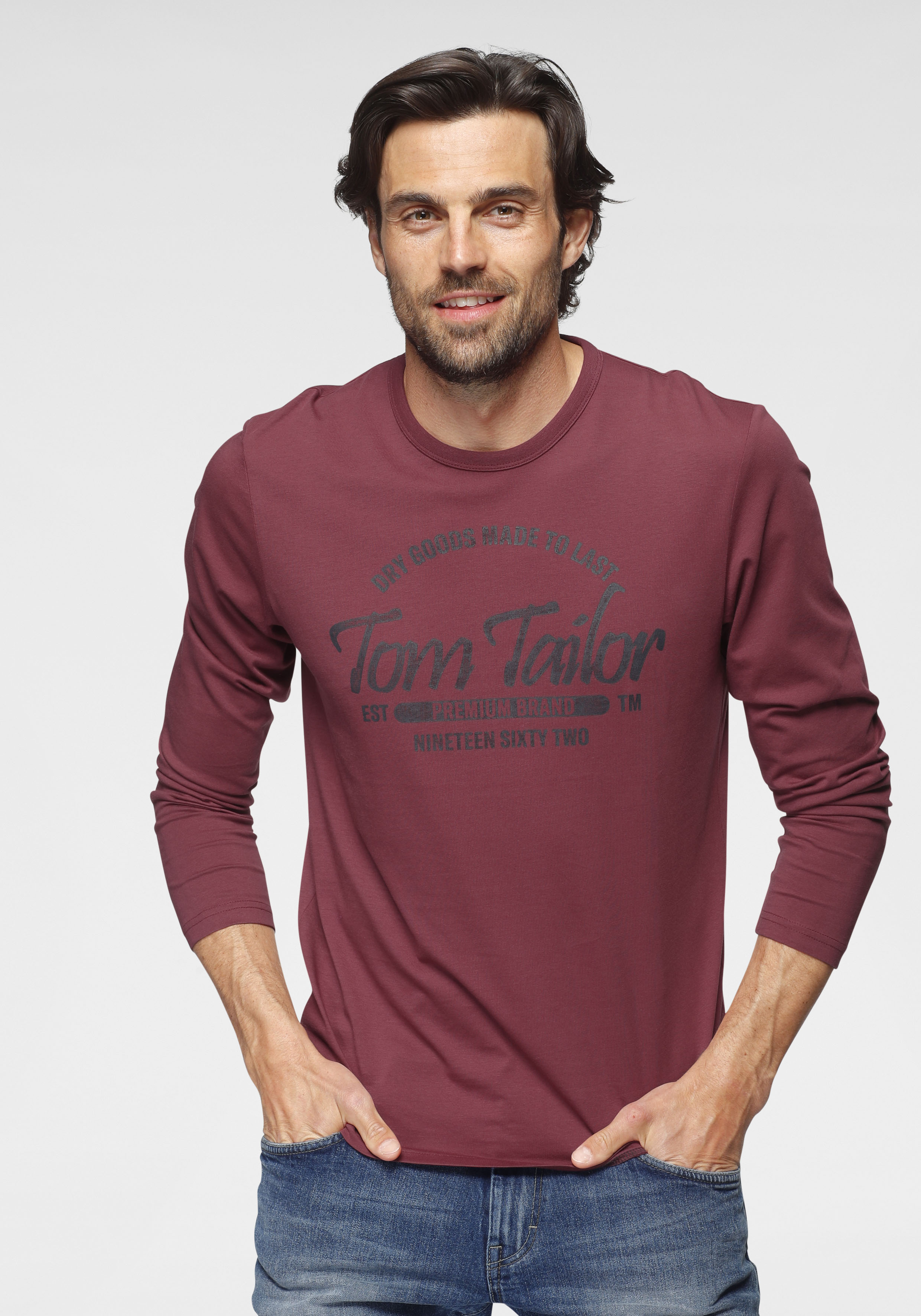 tom tailor -  Langarmshirt, mit Logofrontprint