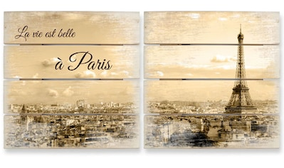 Wall-Art Mehrteilige Bilder »Holzbild Set Paris Skyline Collage«, (Set, 2 St.) kaufen