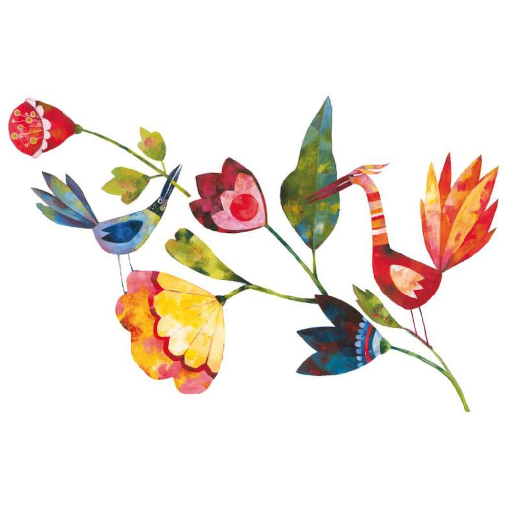 Wall-Art Wandtattoo »Märchenhaft Blumen und Vögel«