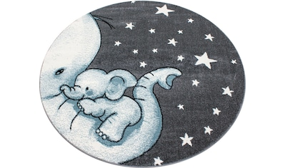 Ayyildiz Kinderteppich »Kids 560«, rund, 12 mm Höhe, Elefanten Baby Motiv, Kurzflor kaufen