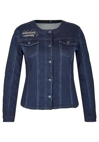 Thomas Rabe Jeansjacke mit Stickereien und Ziersteinen kaufen