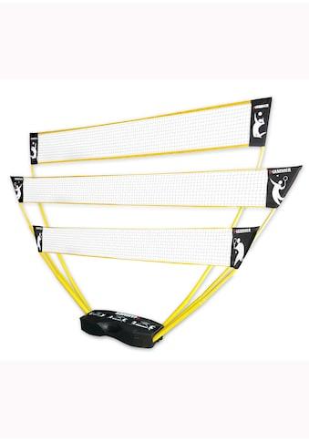 Hammer Tennisnetz, (Tragekoffer, Netze, Teleskop Netzpfosten, Bodenanker), 3in1 Netz-Set für Badminton, Tennis und Volleyball kaufen