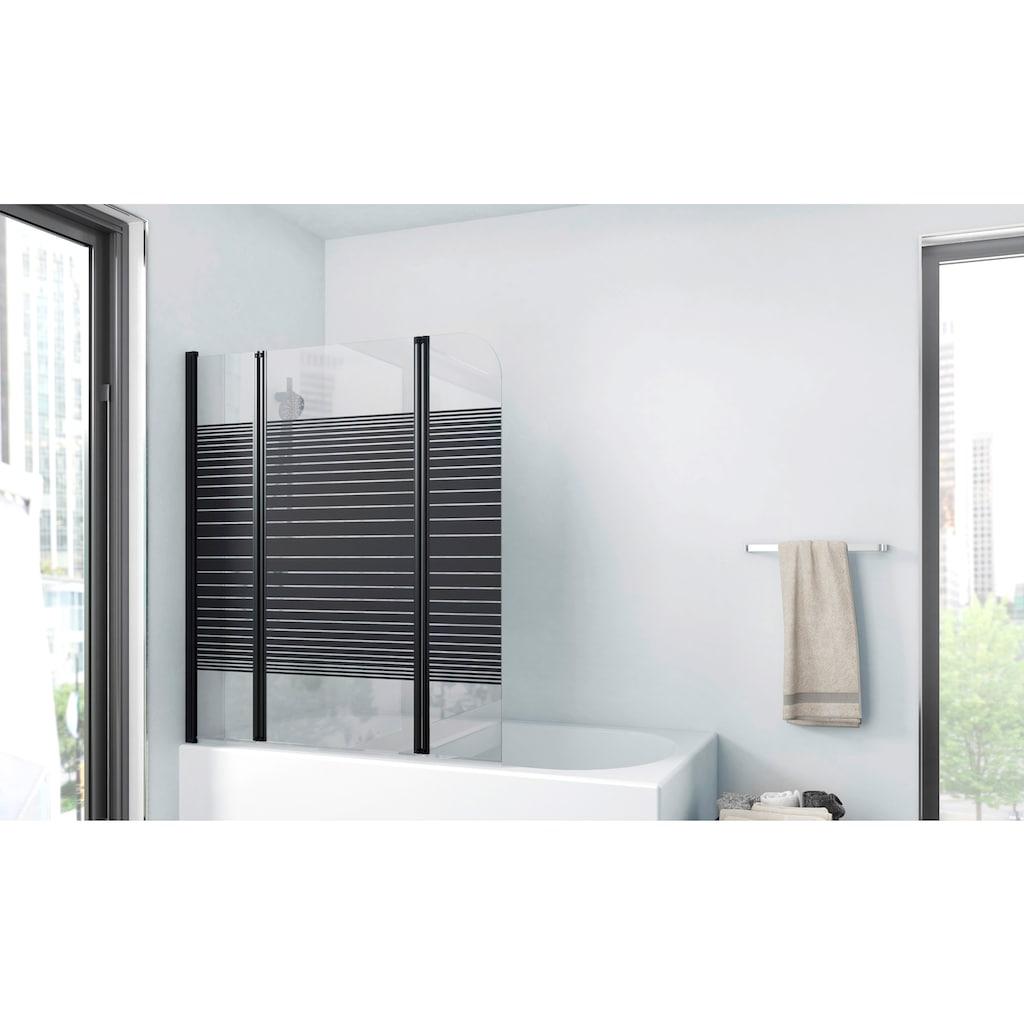 Marwell Badewannenfaltwand »BLACK LINES«, mit Sichtschutz, Breite: 125 cm