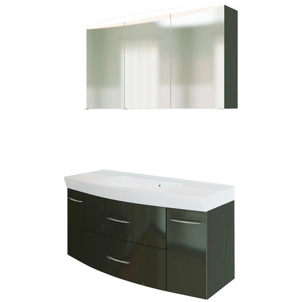 HELD MÖBEL Badmöbel-Set »Florida«, (2 St.), Breite 120 cm, bestehend aus Spiegelschrank und Waschtisch mit gewölbter Front, mit Softclose-Funktion