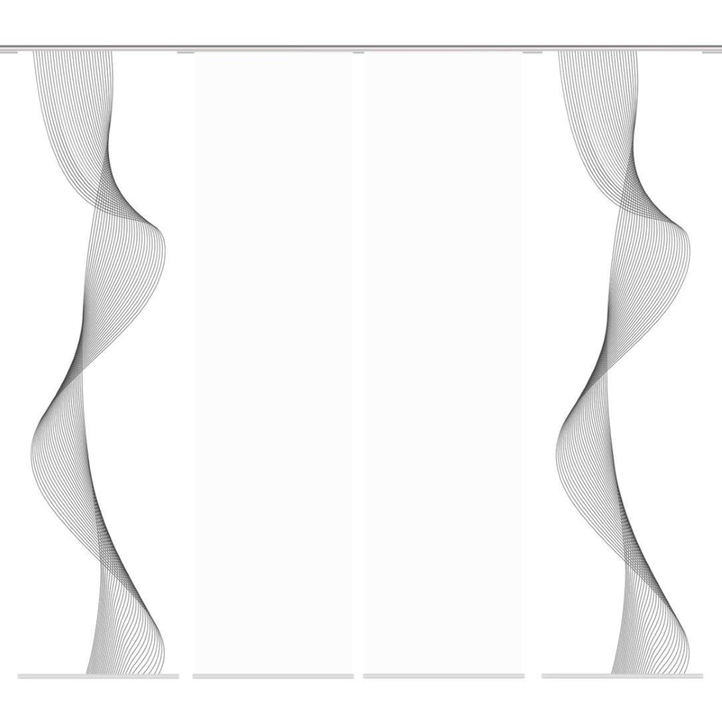 HOME WOHNIDEEN Schiebegardine »COLIBA 4er SET«, Dekostoff-Seidenoptik, Digital bedruckt