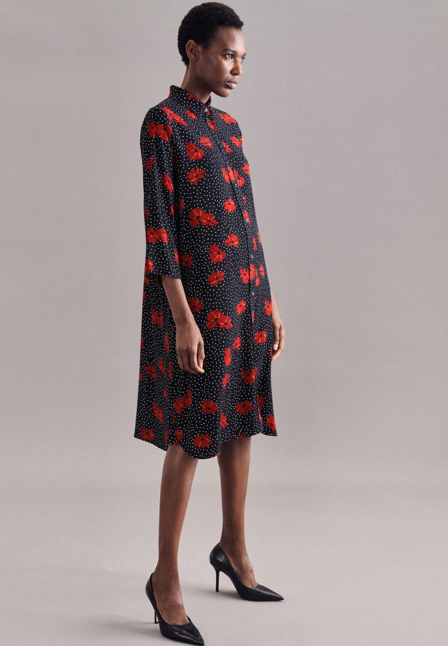 seidensticker -  Sommerkleid Schwarze Rose, 3/4-Arm Kragen Floral
