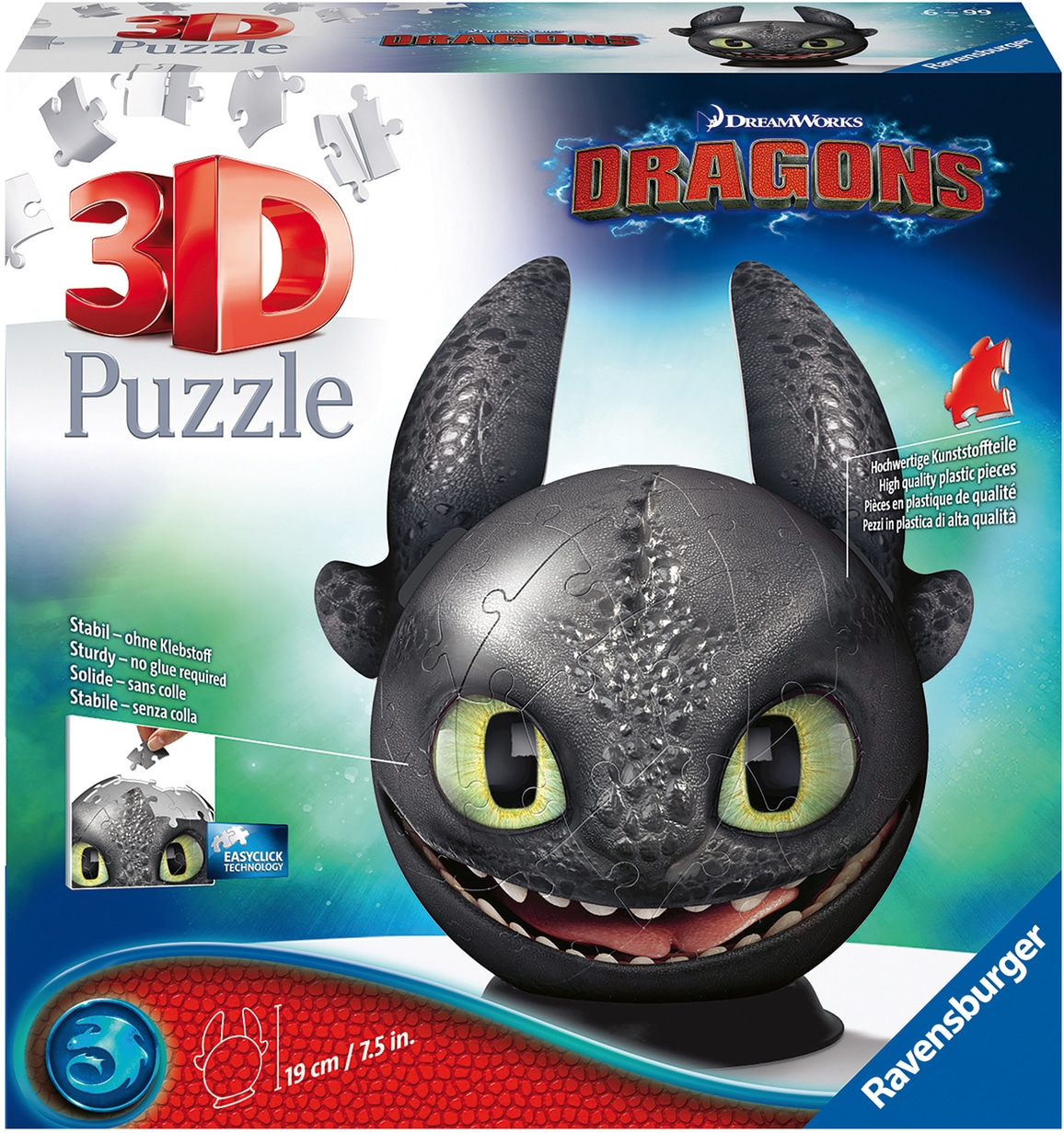 Ravensburger Puzzleball Dragons 3 - Ohnezahn mit Ohren, Made in Europe, FSC schützt Wald weltweit bunt Kinder Ab 6-8 Jahren Altersempfehlung