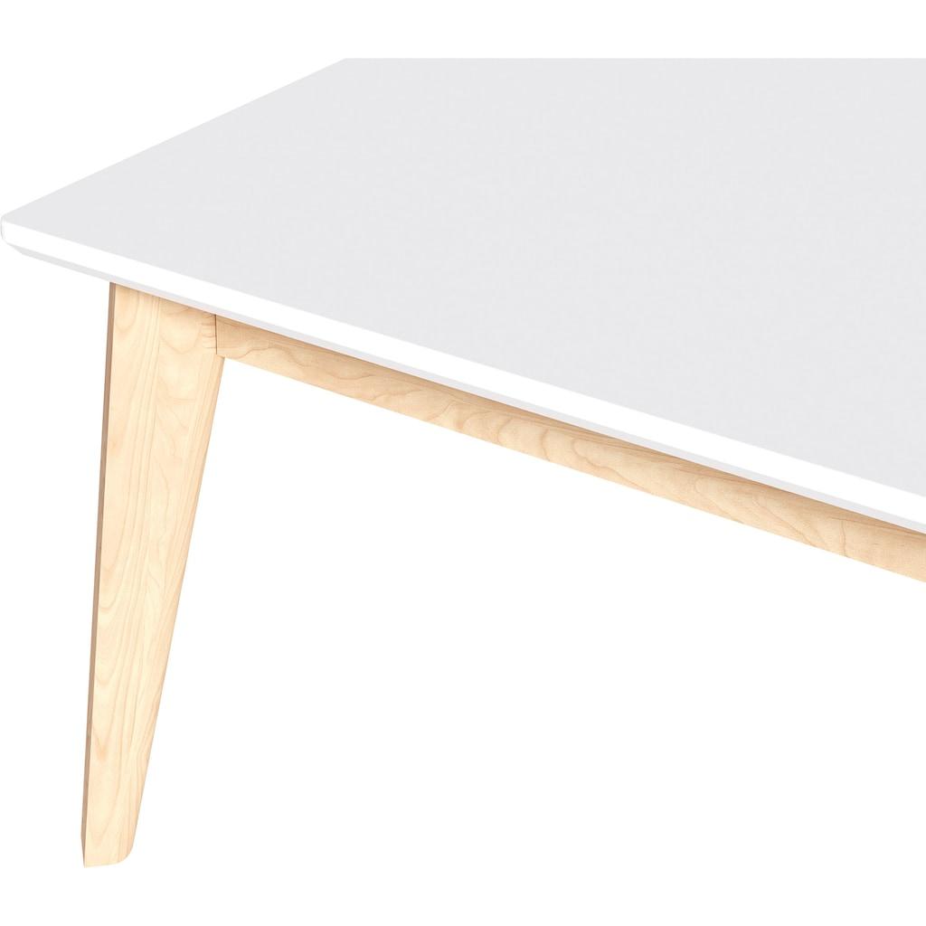 Homexperts Couchtisch »Kaitlin«, Breite 110 cm, weiße Platte, Gestell aus Massivholz