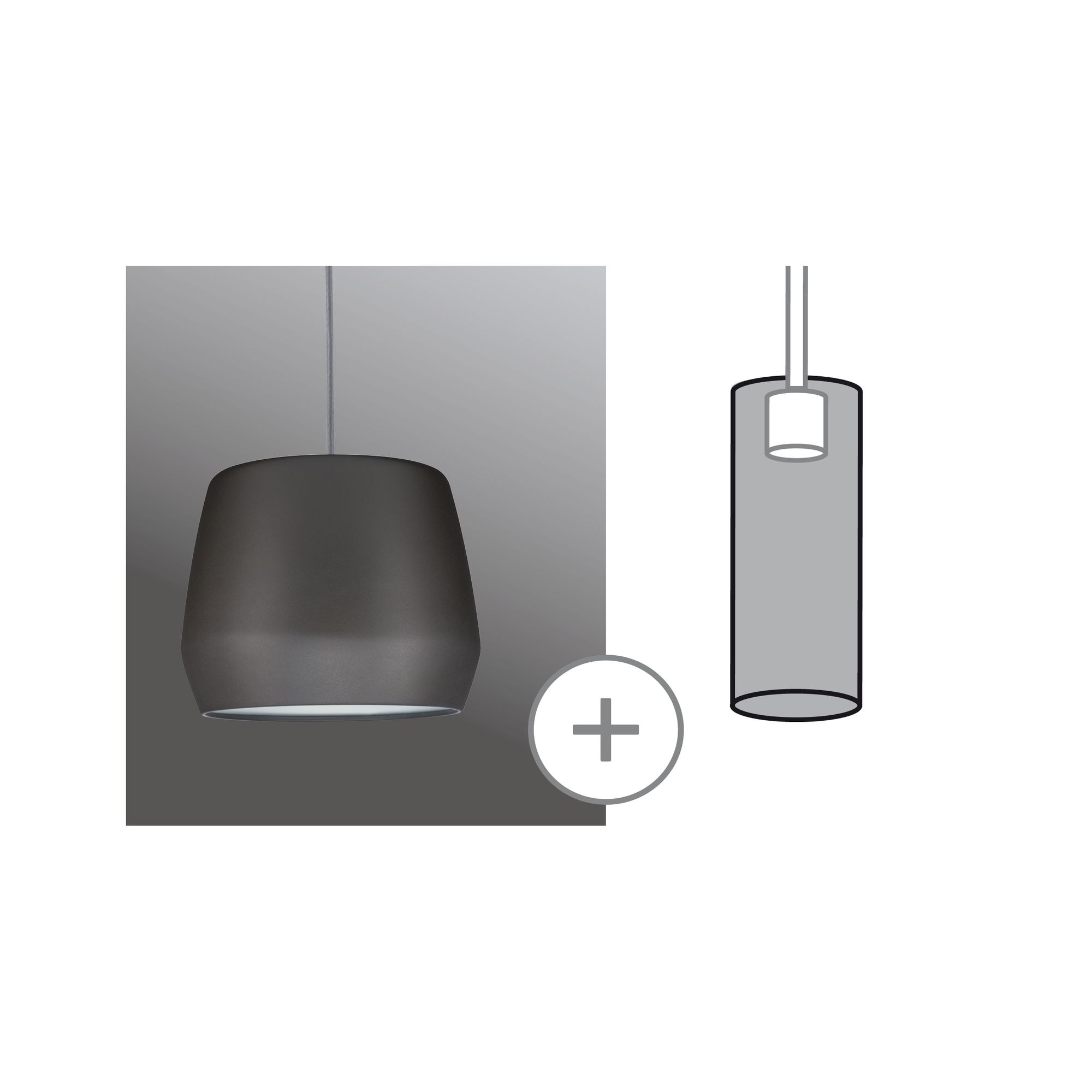 Paulmann LED Deckenleuchte URail 2Easy Metallschirm Pirm Grau matt max. 20W, 1 St.