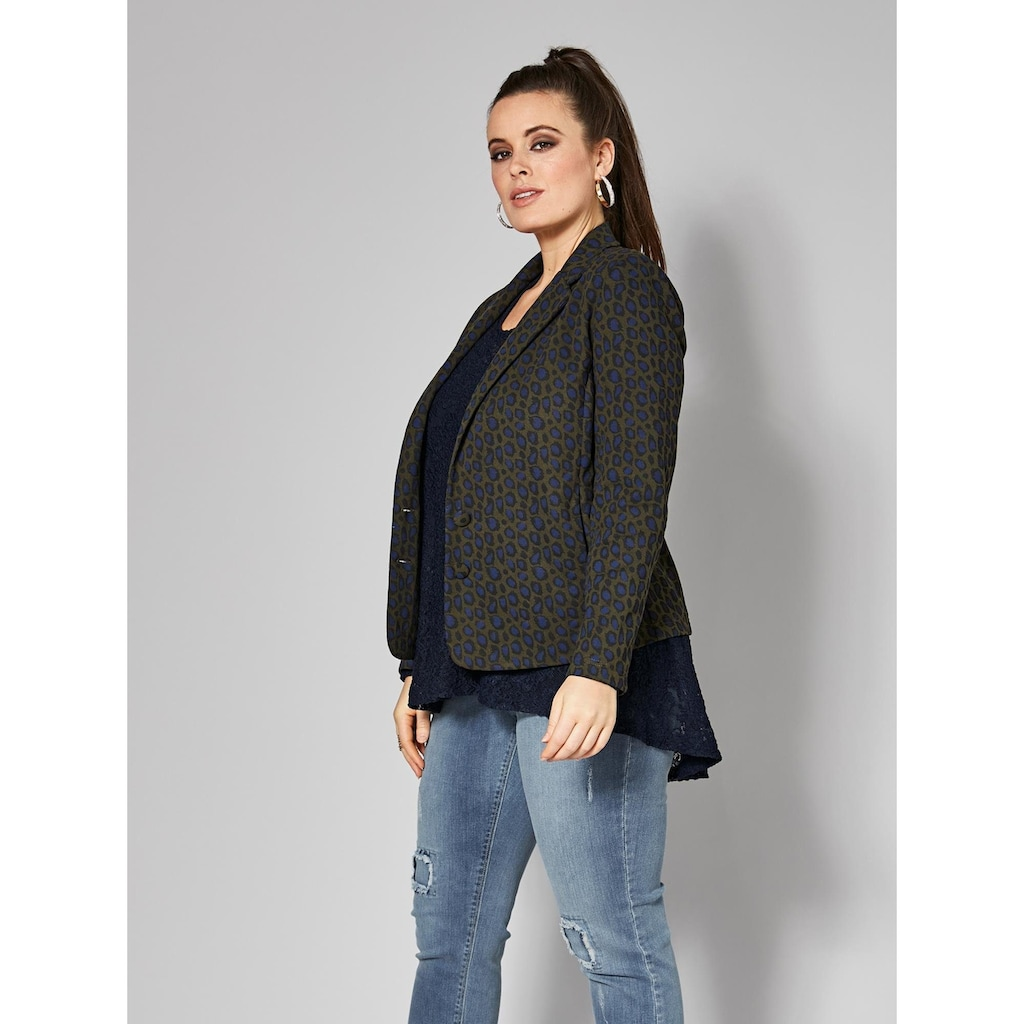 Sara Lindholm by Happy Size Jersey-Blazer mit Leo-Print