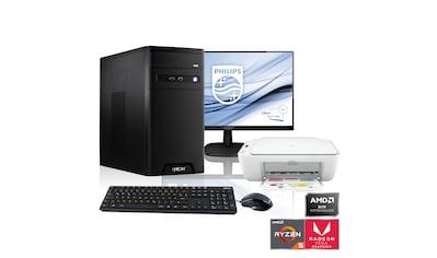 """Hyrican PC Ryzen 5 3400G, Radeon RX Vega 11 + 61 cm (24"""") TFT+ Drucker »Home - Office SET1896« kaufen"""