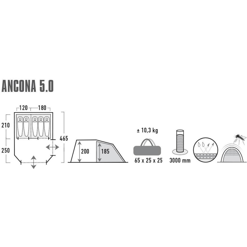 High Peak Tunnelzelt »Zelt Ancona 5.0«, 4 Personen, (mit Transporttasche)