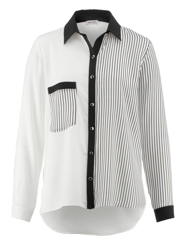 Alba Moda Bluse aus zwei Dessins verarbeitet