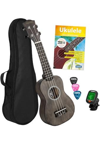 Cascha Ukulele »Sopran, Schwarz«, mit Tasche, Übungsheft, Plektren und Stimmgerät kaufen