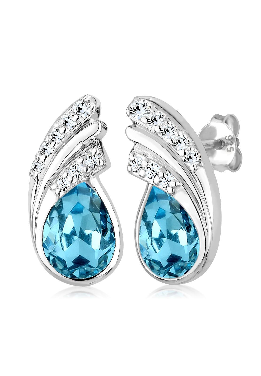 Elli Paar Ohrstecker Tropfen Swarovski Kristalle Basic Glamour Silber | Schmuck > Ohrschmuck & Ohrringe > Ohrstecker | Blau | Elli