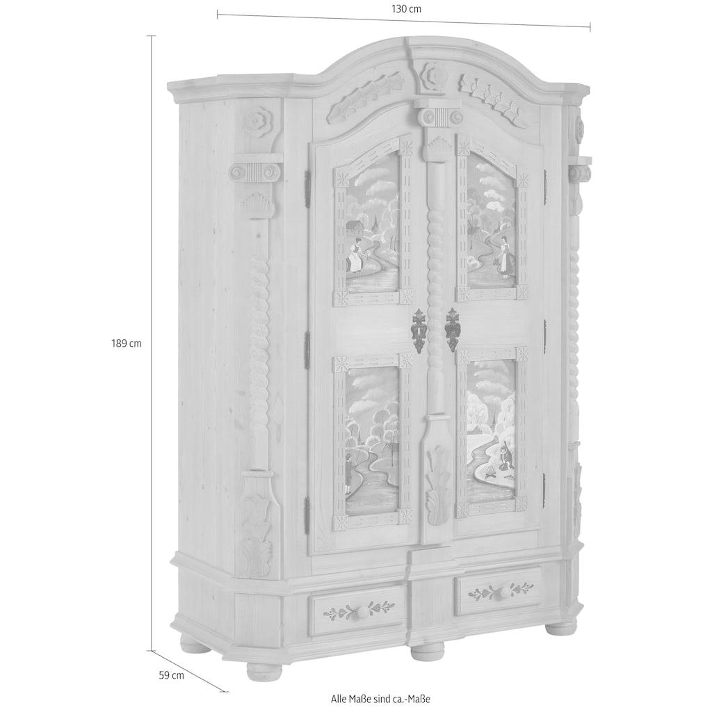Premium collection by Home affaire Garderobenschrank »Teisendorf«, mit besonderen handbemalten Türfronten und schönen Ornamenten, Höhe 189 cm