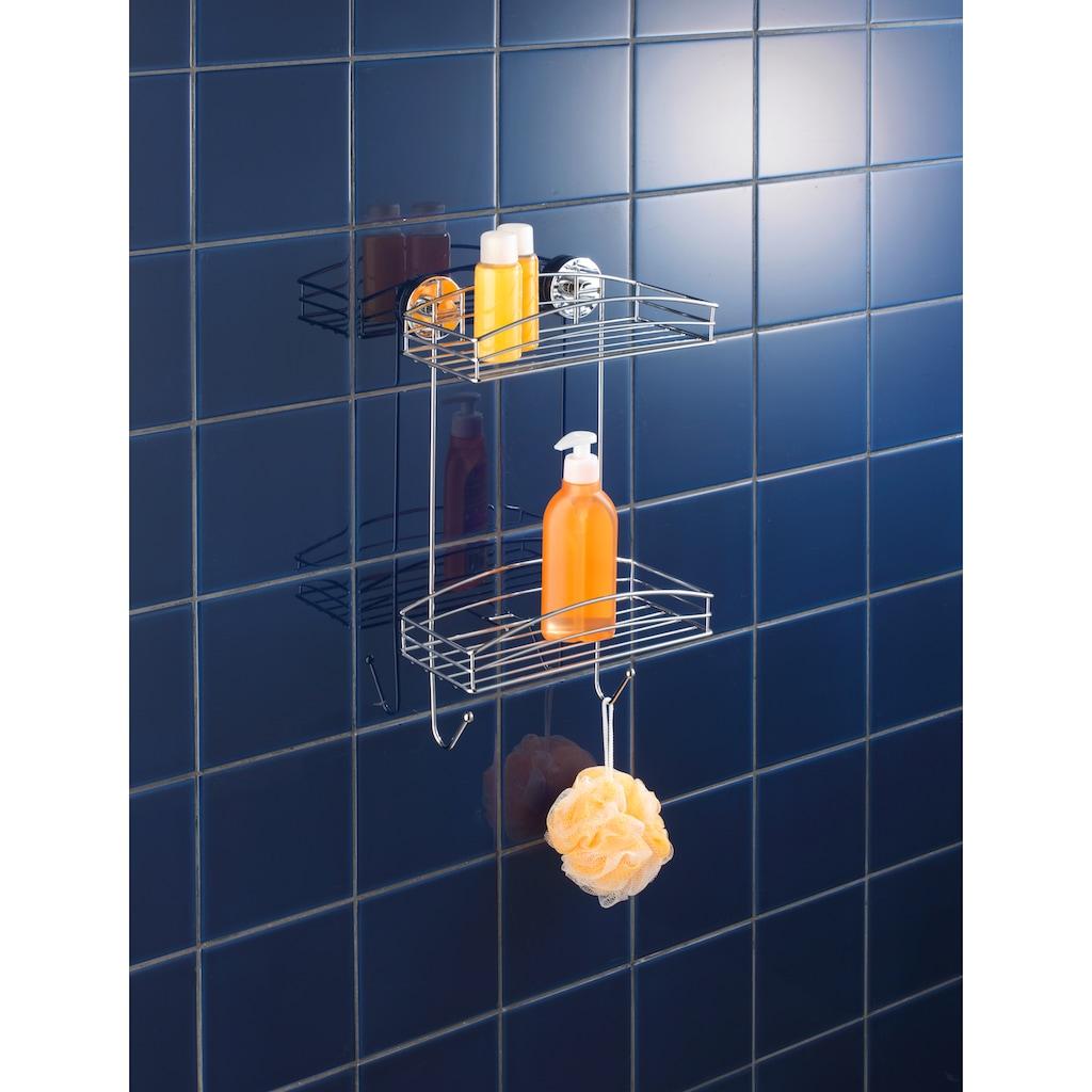 WENKO Duschablage »Wandregal«, mit 2 Ablagen und 2 Haken, Vaccum-Loc Befestigen ohne bohren