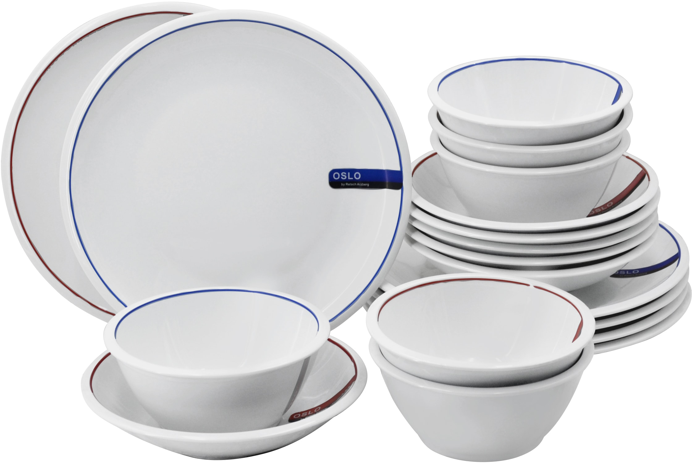Retsch Arzberg Tafelservice Oslo (18-tlg.), Porzellan weiß Geschirr-Sets Geschirr, Tischaccessoires Haushaltswaren