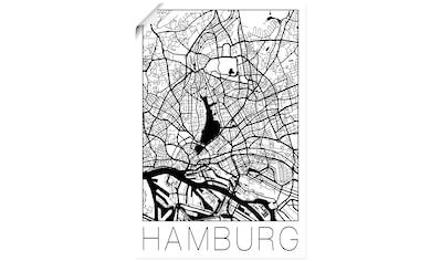 Artland Wandbild »Retro Karte Hamburg Deutschland«, Deutschland, (1 St.), in vielen Größen & Produktarten - Alubild / Outdoorbild für den Außenbereich, Leinwandbild, Poster, Wandaufkleber / Wandtattoo auch für Badezimmer geeignet kaufen