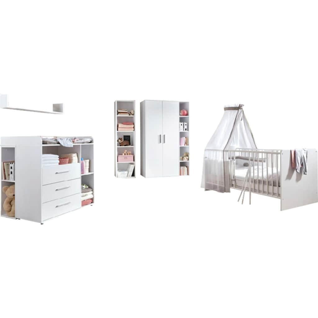 BMG Babyzimmer-Komplettset »Luis«, (Set, 11 St.), Bett + Wickelkommode + 2-trg. Schrank + Standregal + Unterstellregal (Set 2-tlg.) + Wandboard + Matratze & Textil-Set von Alvi