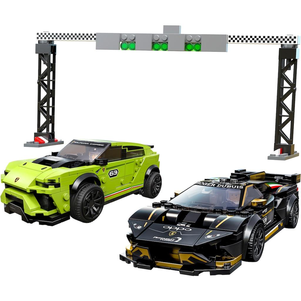 LEGO® Konstruktionsspielsteine »Lamborghini Urus ST-X & Lamborghini Huracán Super Trofeo EVO (76899), LEGO® Speed Champions«, (663 St.), Made in Europe