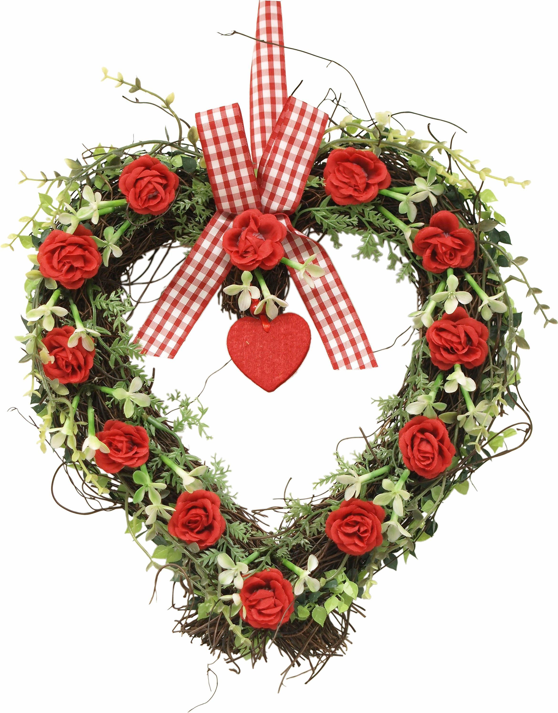 Kunstpflanze Rattan-Herz Rosen 27 cm (1 Stück) rot Kunstpflanzen Pflanzen Garten Balkon