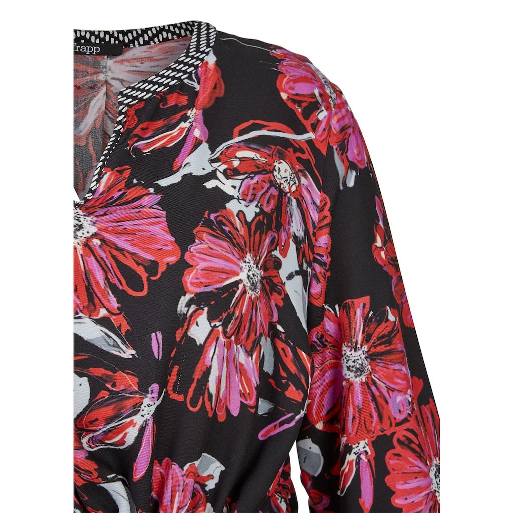 FRAPP Topmodisches Blusen-Kleid mit Allover-Mustermix Plus Size