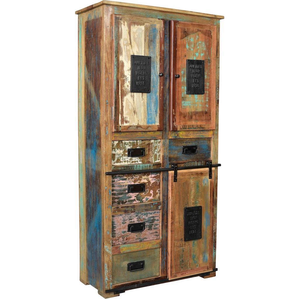 SIT Stauraumschrank »Jupiter«, aus recyceltem Altholz, Höhe 180 cm, Shabby Chic, Vintage