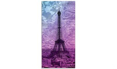 Artland Glasbild »Paris Eiffelturm Lila/Blau«, Gebäude, (1 St.) kaufen