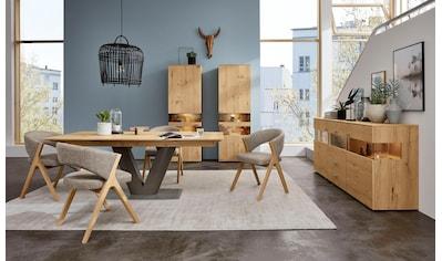 GWINNER Essgruppe »Anzio«, (Set, 5 tlg.), inkl. 4 Stühle wahlweise mit Stoff oder Leder bezogen, Tischplatte in Balkeneiche furniert, Fuß in anthrazit seidenmatt lackiert kaufen