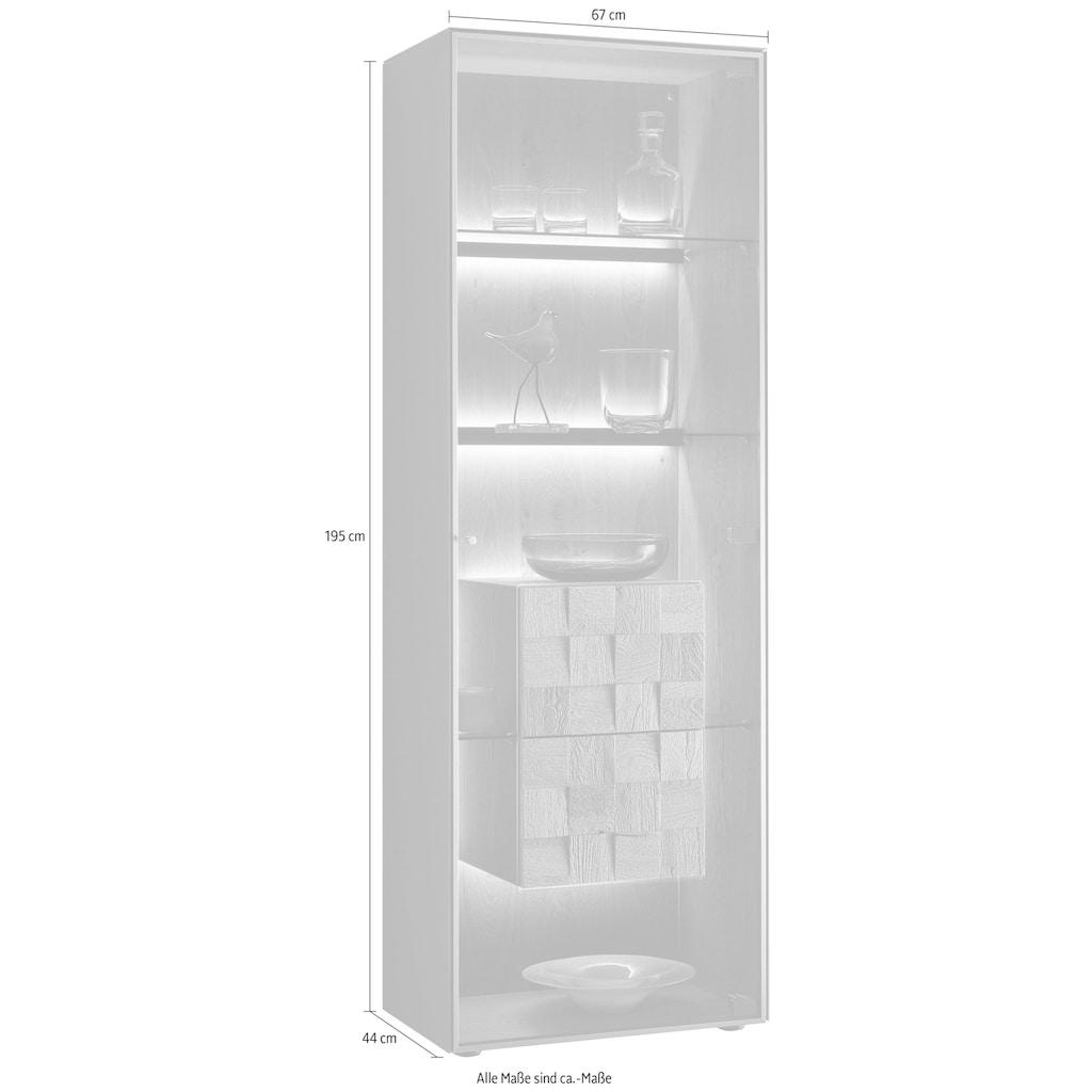 LEONARDO Standvitrine »LIV«, Massivholzkacheln enthalten, Höhe 195 cm, wahlweise mit Mattglas in blau oder grau