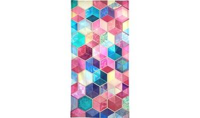 Juniqe Handtuch »Topaz And Rubey Crystal Honeycomb Cubes«, (1 St.), Weiche... kaufen