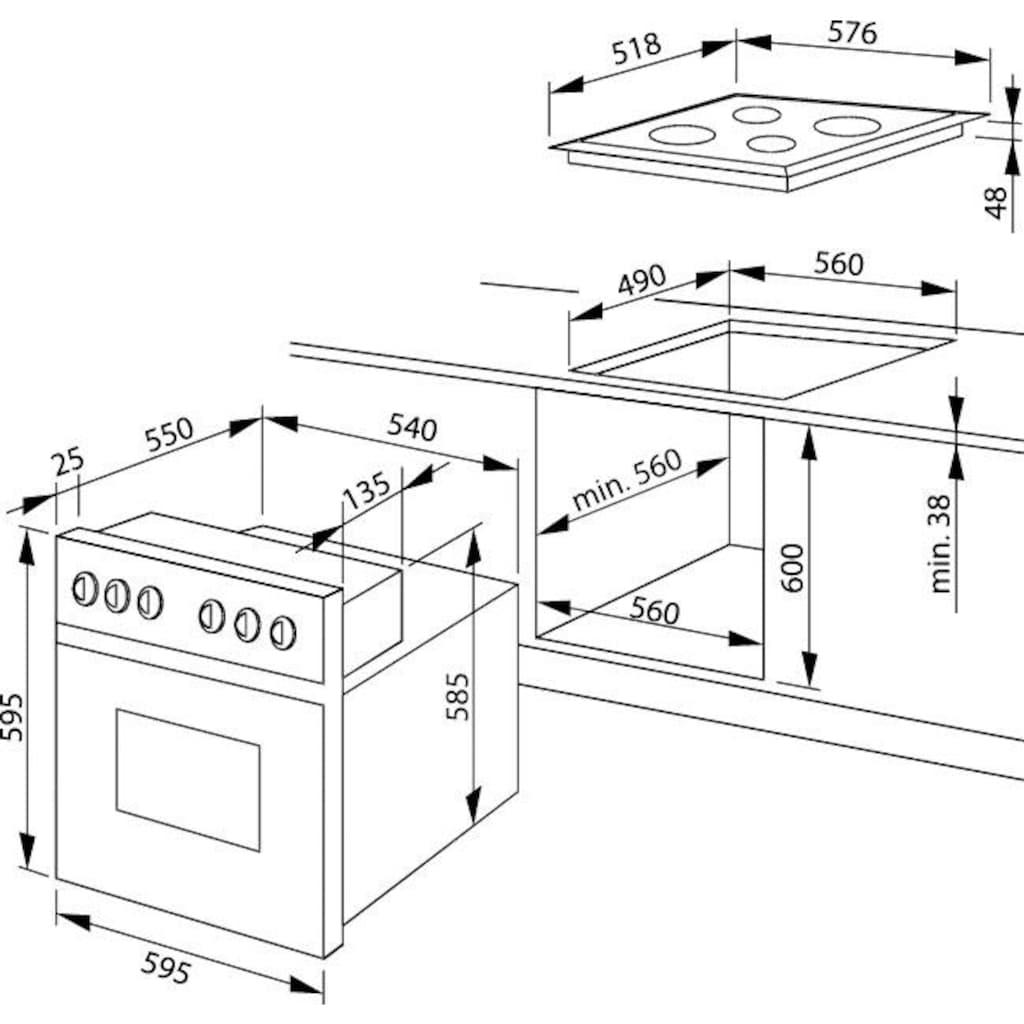 Amica Elektro-Herd-Set, 3-fach-Teleskopauszug, Simple Steam Reinigungsfunktion