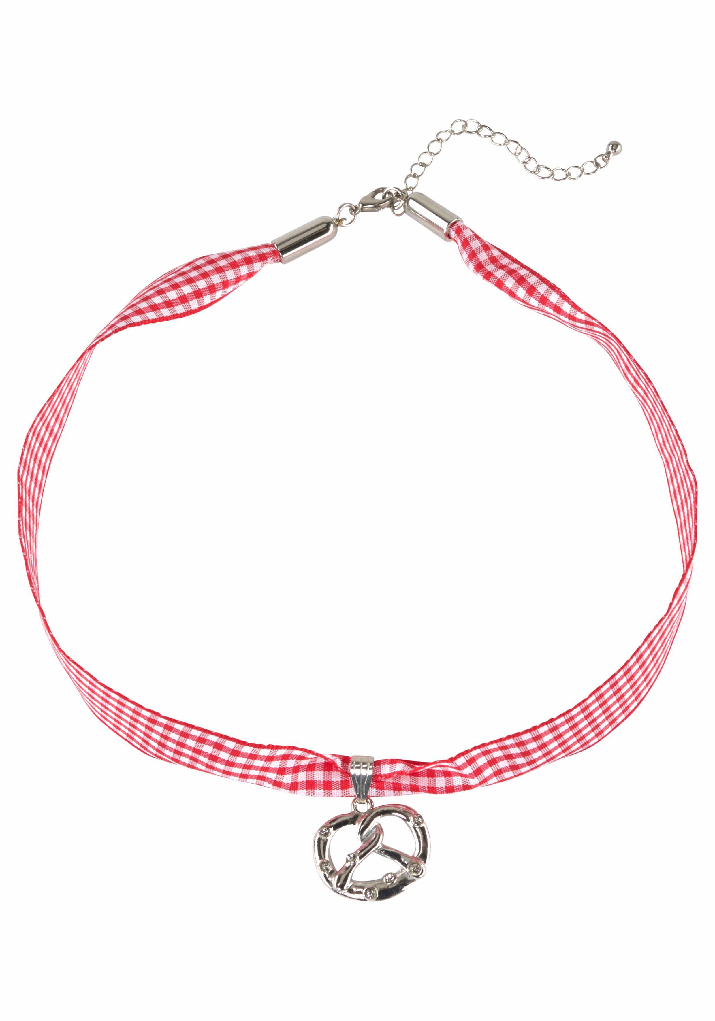 J.Jayz Halsband »kariert, mit Brezelanhänger rot/weiß, Trachten-Look« | Schmuck > Halsketten > Halsbänder | Rot | J.Jayz