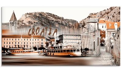 Artland Glasbild »Kroatien Skyline abstrakte Collage« kaufen