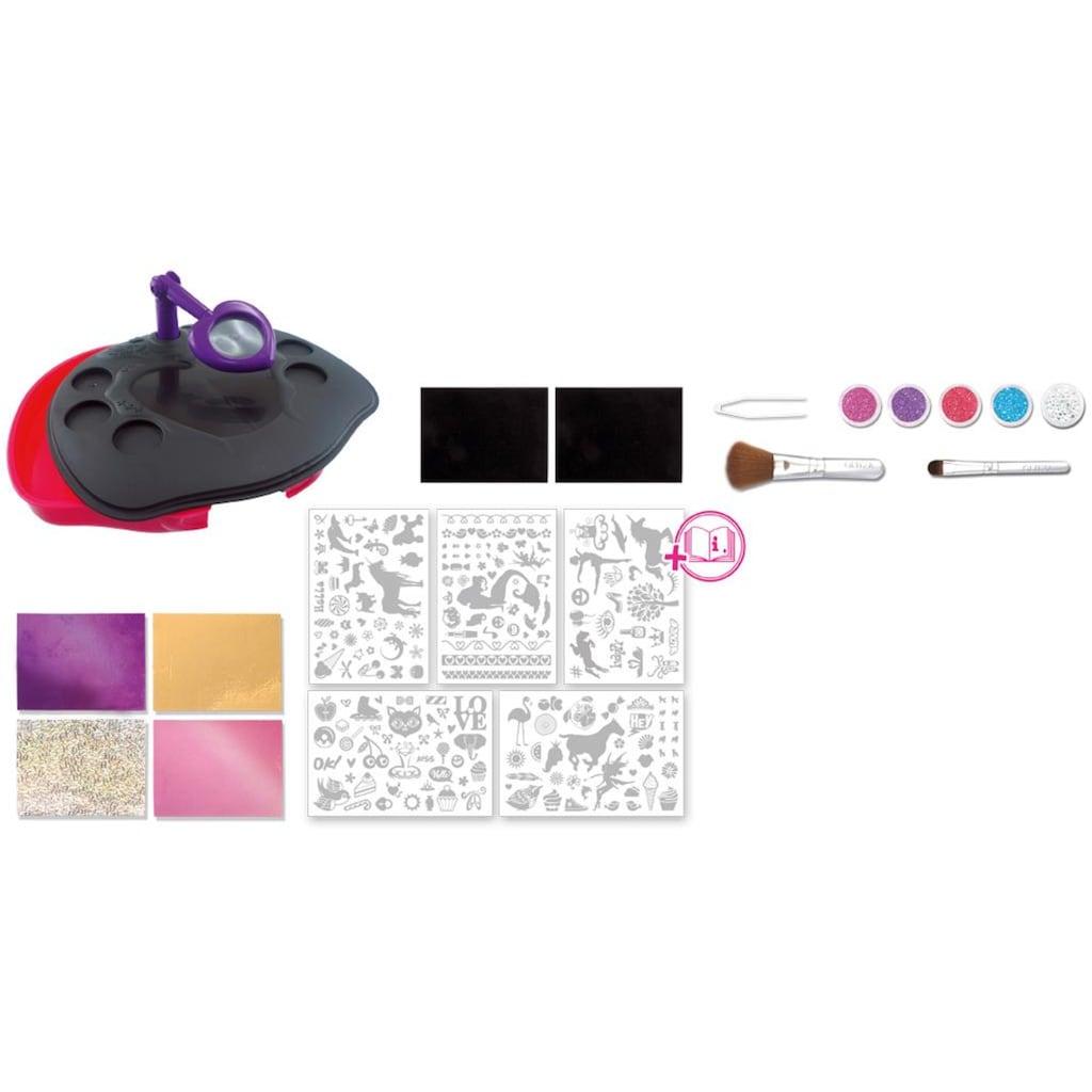 Knorrtoys® Kreativset »GLITZA Party Studio mit 180 Tattoos«, (Set), Designstudio mit Lupe