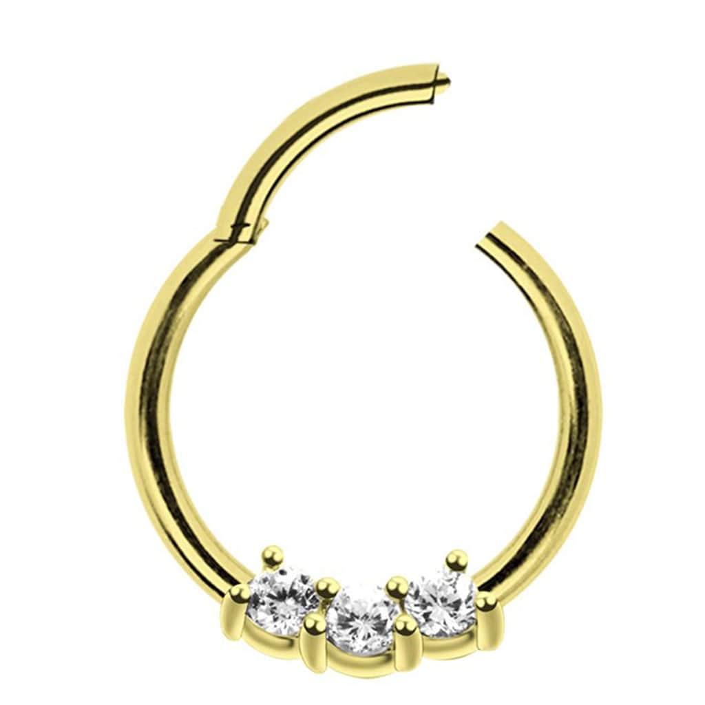 Adelia´s Nasenpiercing »Piercing Ring Smooth Segment Clicker mit Stein, Gold«, mit drei klaren gefassten Kristallen in 2 mm