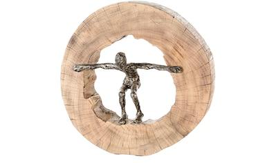 Casablanca by Gilde Dekofigur »Skulptur Jumping«, Dekoobjekt, Höhe 29 cm, aus Metall und Holz-Baumscheibe, Wohnzimmer kaufen