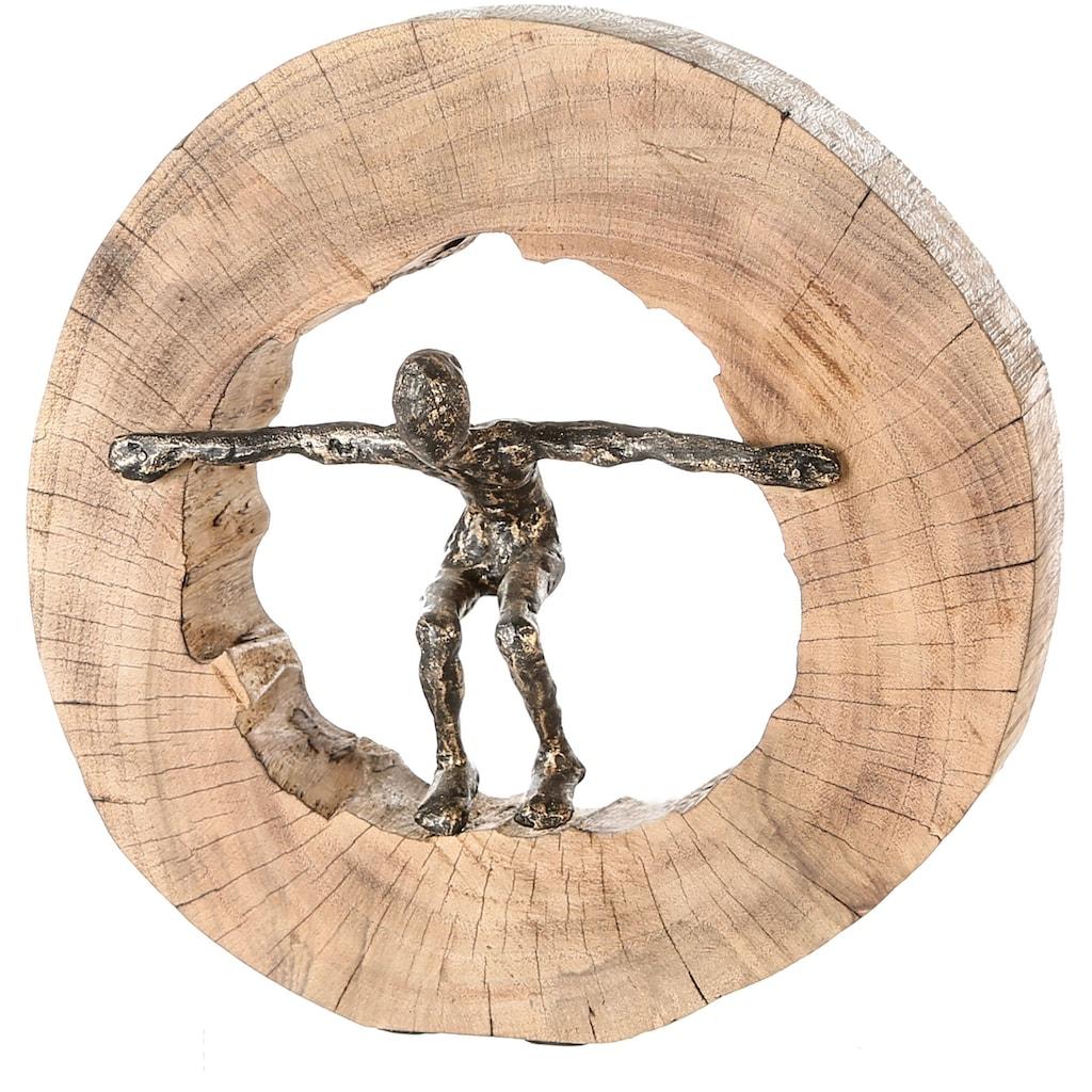 Casablanca by Gilde Dekofigur »Skulptur Jumping«, Dekoobjekt, Höhe 29 cm, aus Metall und Holz-Baumscheibe, Wohnzimmer