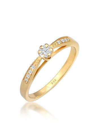 Diamore Diamantring »Verlobung Diamant (0.085 ct.) Blume 585 Gelbgold« kaufen