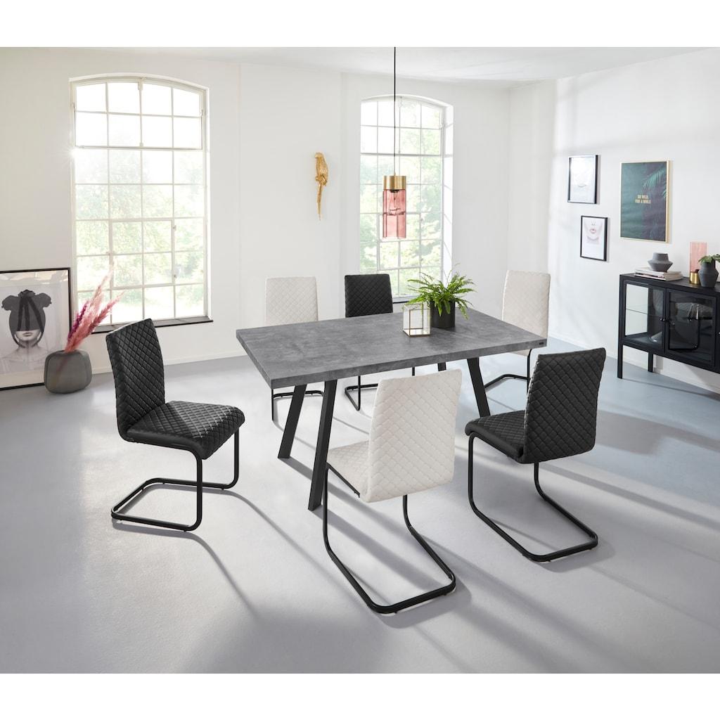 INOSIGN Esstisch »Brac«, in schöner Beton-Optik, Gestell aus Metall, in zwei verschiedenen Tischbreiten