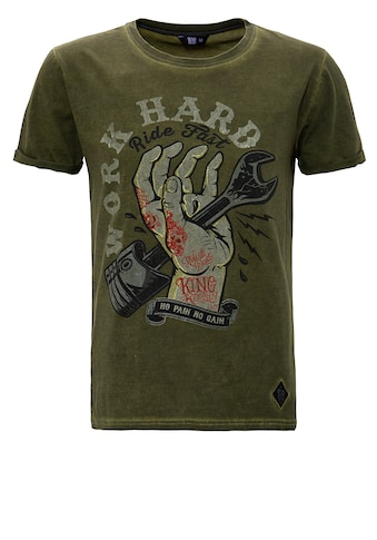 KingKerosin Print-Shirt »Work Hard«, im Used-Look kaufen
