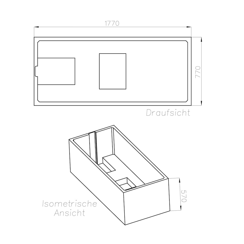 OTTOFOND Badewanne »Set Körpferformbadewanne«, 1800/800 mm, Körperformbadewanne