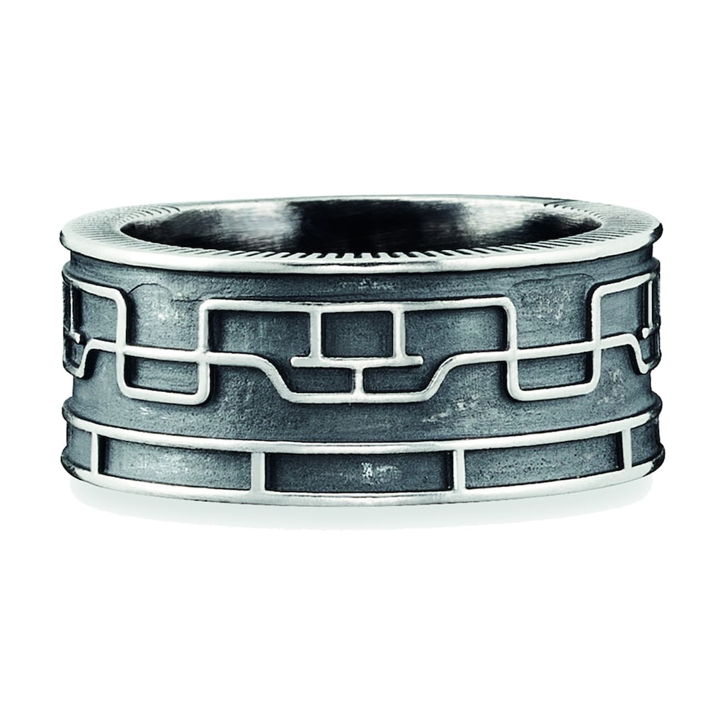 CAÏ Ring »925/- Sterling Silber oxidiert Linien Japan«