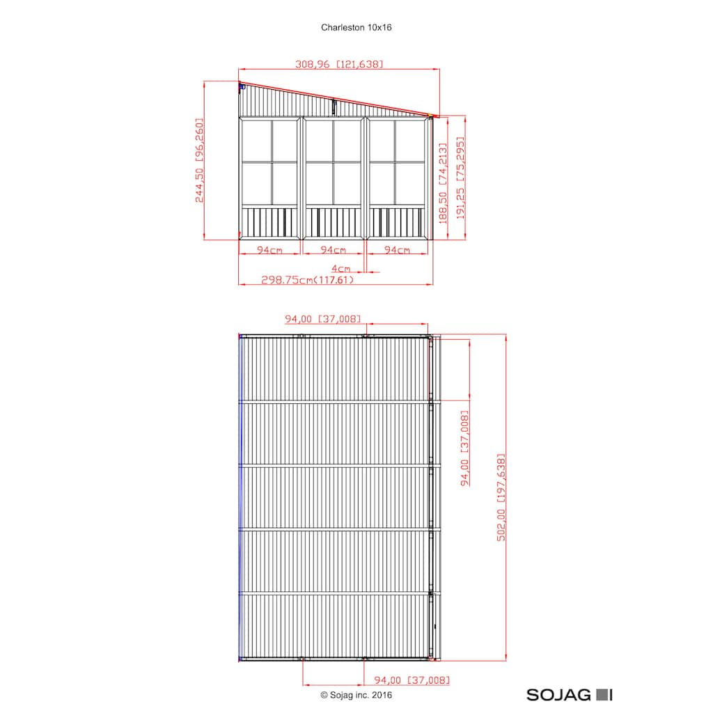 Sojag Anbaupavillon »Mural 10x16 anthrazit«, BxTxH: 502x309x244 cm