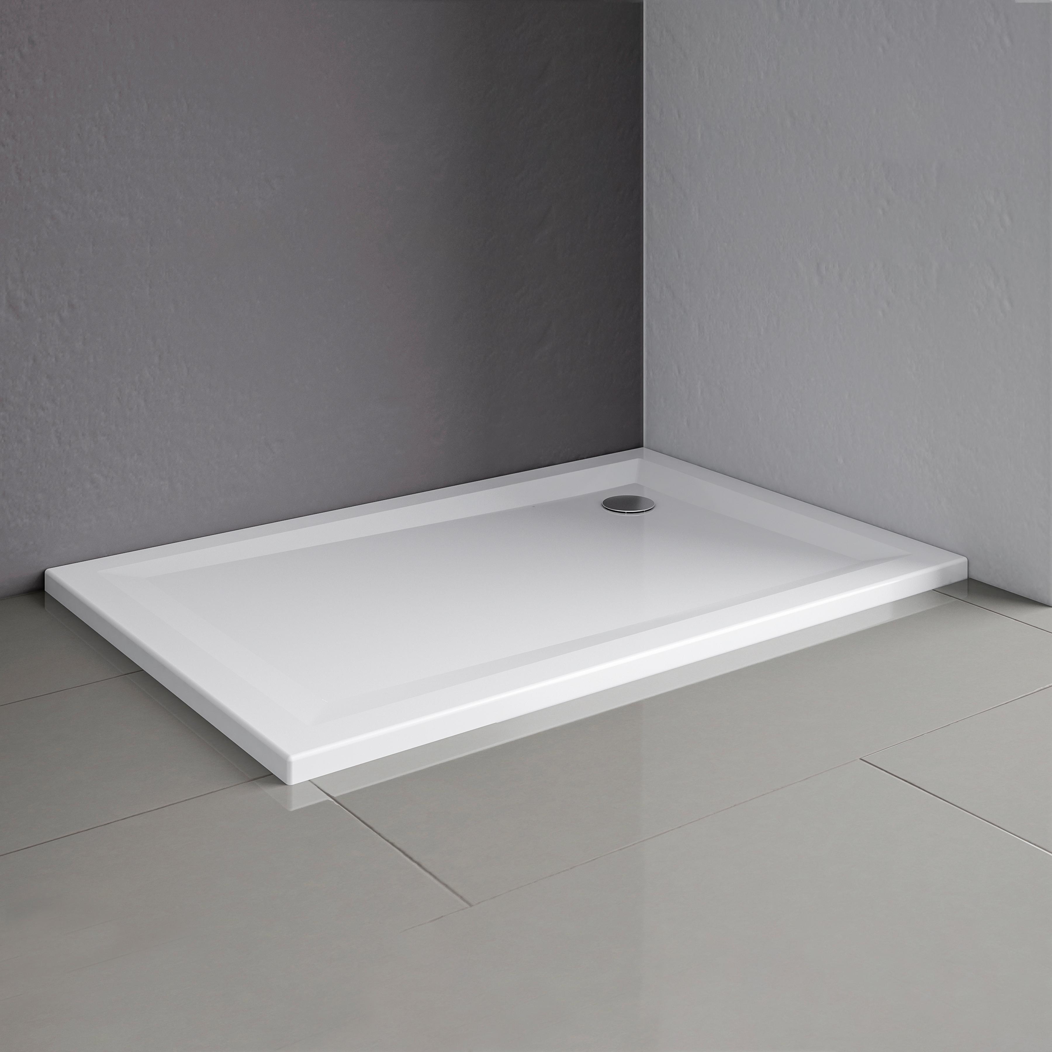 Schulte Duschwanne, flach, inkl. ABlaufgarnitur und Füße weiß Duschwannen Duschen Bad Sanitär