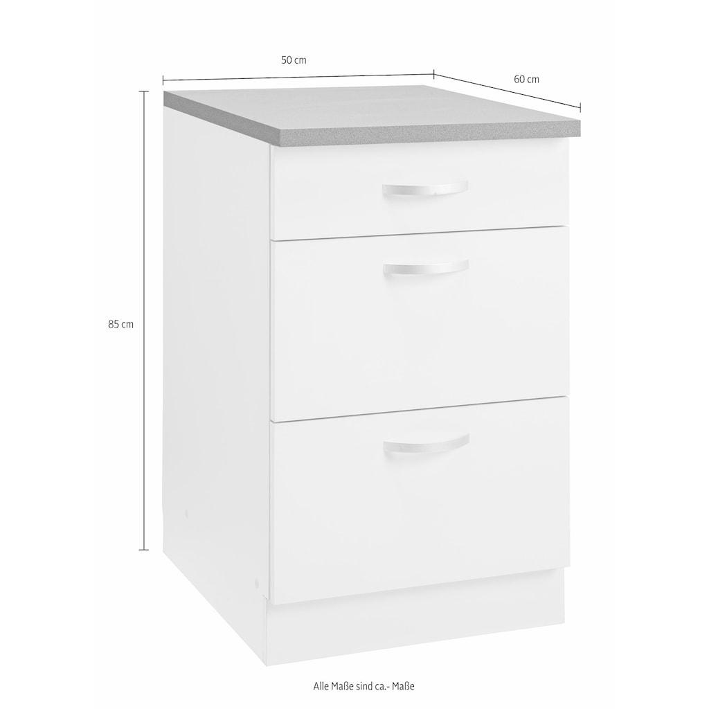 wiho Küchen Unterschrank »Amrum«, 50 cm breit, mit 2 großen Auszügen