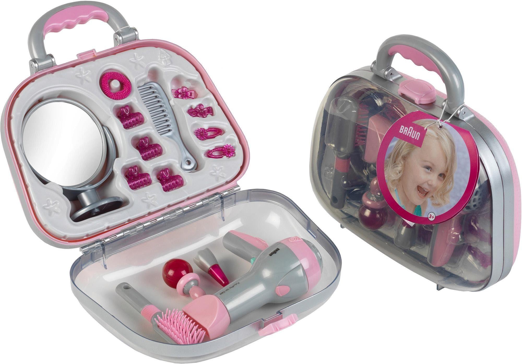 Klein Spielzeug-Frisierkoffer Koffer mit Braun Fön und Zubehör grau Kinder Kinderkosmetik -schmuck Basteln, Malen, Kosmetik Schmuck Rollenspielzeug
