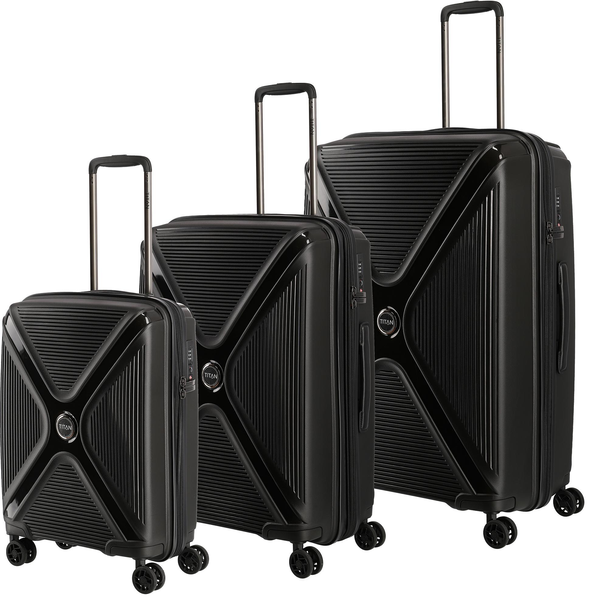 titan trolleyset paradoxx black uni 4 rollen 3tlg. Black Bedroom Furniture Sets. Home Design Ideas